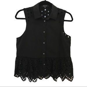 Madewell black cute button up tank top size small